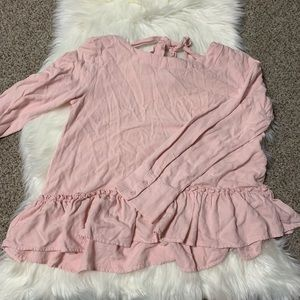 Cloth and stone pink ruffle hem long sleeve small